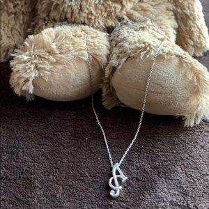 "Silver 925 ""A"" pendant necklace, 16"" long"